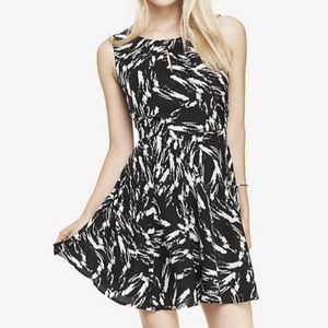 Express Pleated Keyhole Fit and Flare Mini Dress P